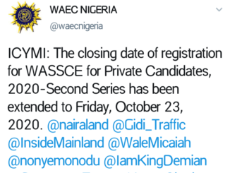 Wassce for private candidates 2020